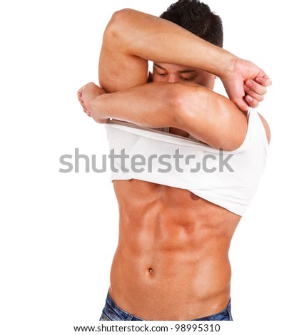 stock photo : Image of sexy oiled male posing. Save to a lightbox ▼