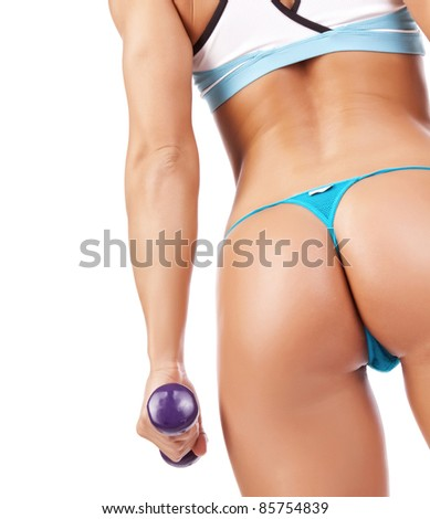 Image of sexy sportwomans ass, isolated on white background