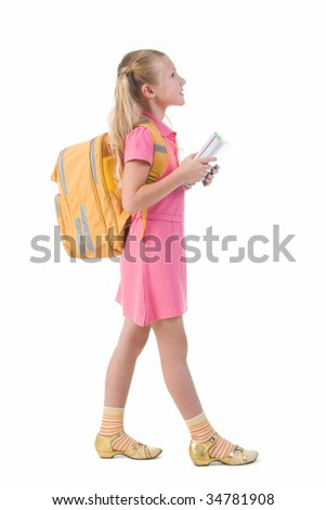 Image of smart schoolgirl with backpack going to school