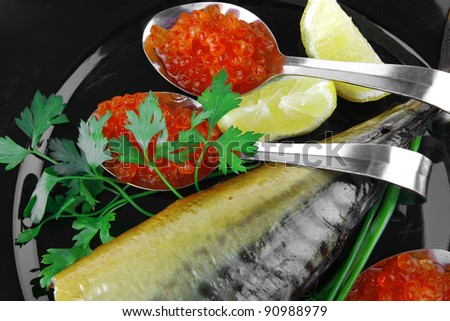 image of smoked fish served with salmon red caviar