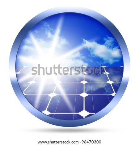 Image of solar panels - clean energy source image isolated over white background