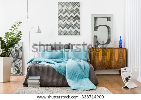 Image of spacious bedroom with modern stylish furniture #338714900