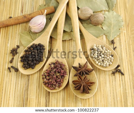 Image of spices on wooden background