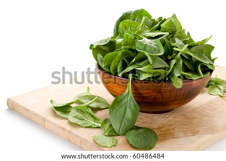 Image of spinach and bowl with white background