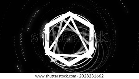 Image of spinning white rings triangles and hexagons on black background. geometry, movement and energy concept, digitally generated image.