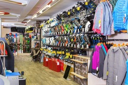 Image of sport store with equipment for skiing.
