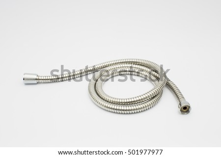 Image of stainless steel shower hose bidet isolated on white background