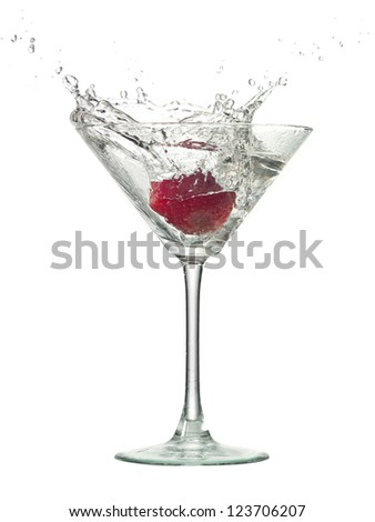 Image of strawberry cocktail drink with splash over white background