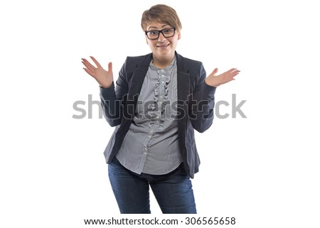 Image of surprised pudgy woman with open hands on white background