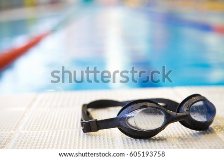 Photo of Image of swimming pool and goggles. Nobody