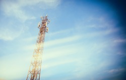 image of Tele-radio tower with blue sky for background usage.