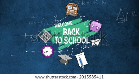 Image of text Back To School over floating mathematical equations on the dark background. Education back to school concept digitally generated image.