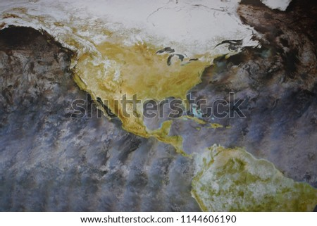 image of the earth seen from space with aerial view of North America and Central America