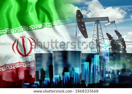 Image of the Iranian flag, oil pump rig and barrels with graphs. The concept of oil production, regulation of mining, the discovery of new deposits. Mixed Medivse, Double Exposure Сток-фото ©