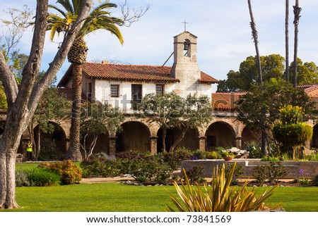 Image of the lovely mission at San Juan Capistrano, California