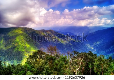 Image of the lush green valleys of Cherapunji located in the North Eastern state of Meghalaya #1192637926