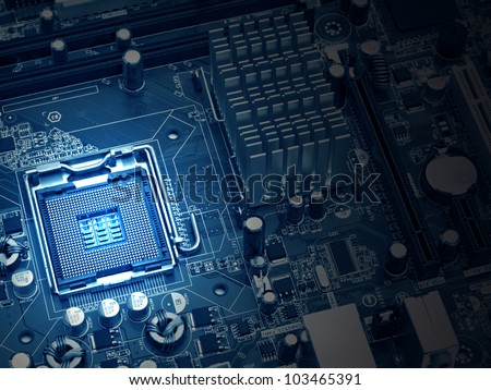 image of the motherboard without a PC processor closeup, Blue tone and light effect