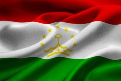 Image of the national flag of Tajikistan blowing in the wind