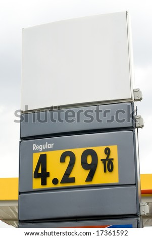 Image of the numerical gasoline price at a gas station