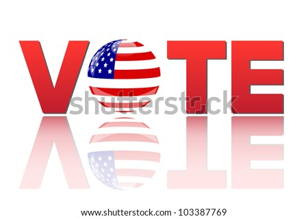Image of the word vote with the flag of the United States of America isolated on a white background.