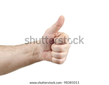 Image of thumb up isolated on white