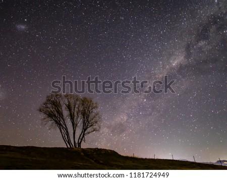 Stock Photo Image of tree under milky way galaxy and star fields. Shot in NSW AUSTRALIA.