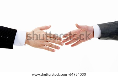Image of two arms in isolation before business handshake
