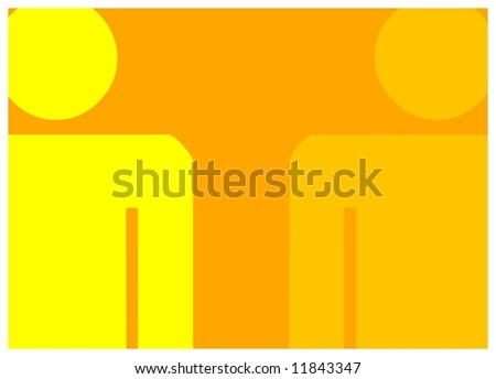 Image of two characters at the left and right hand sides - colored orange and yellow