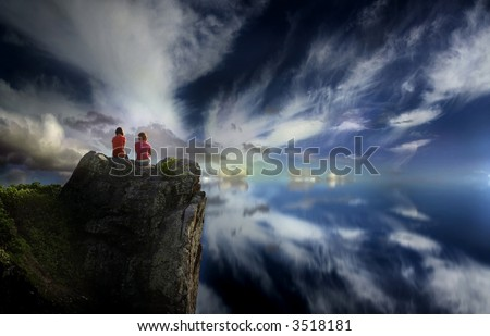 Image of two girls on a mountain top