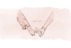 Image of two hands of lover in a long relationship with the hand writting word on watercolor background. Long distance relationship concept, can be used for the Valentine's day occasion.