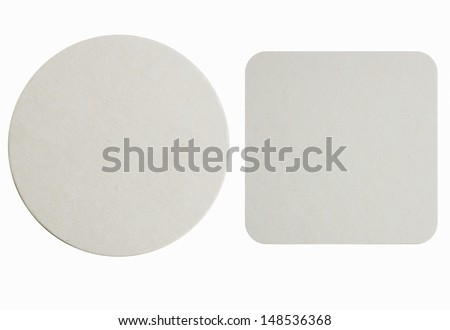 Image of two new beer coasters isolated on a white background. Add your own design or logo. #148536368
