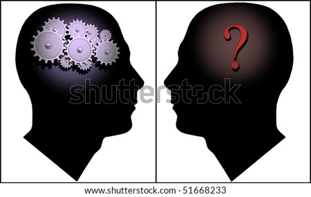 Image of two silhouettes illustrating the concept of questions and answers.