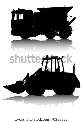 image of two work cars. Silhouettes on white background
