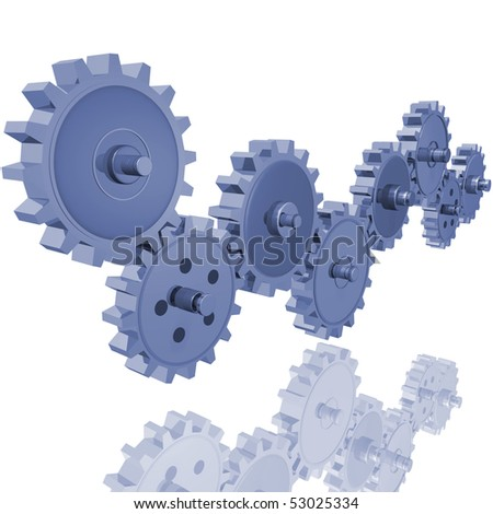 Image of various 3D gears.