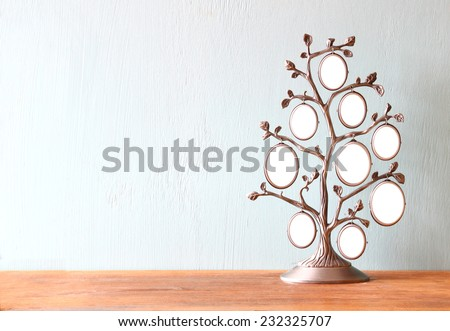 Image of vintage antique classical frame of family tree on wooden table