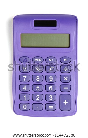 Image of violet calculator isolated on white background