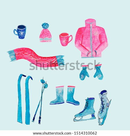 image of winter attributes on a blue background,with a snowflake.hot warming drink in a mug or glass,cup of tea or coffe,ice skates,skis red warm knitted scarf,hat  jacket.blue boots,mittens