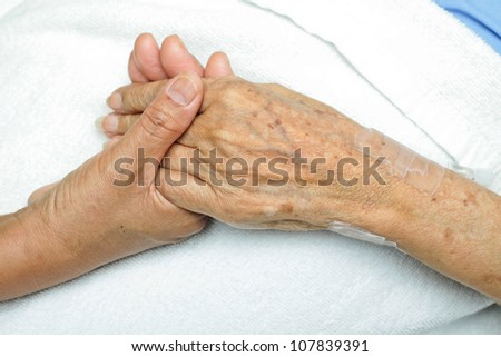 image of Woman Comforting Hand with her mother.