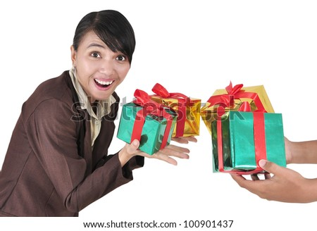 Image of woman guessing what present he is going to receive from his colleagues, isolated on white background