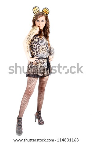 Image of woman in catwoman costume on white background