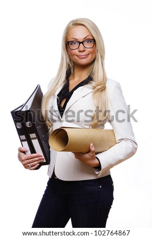 Image of woman with folders posing in studio
