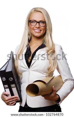 Image of woman with folders posing in studio - stock photo