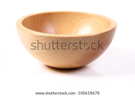 Image of wooden bowl on white
