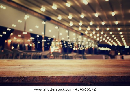 Shutterstock Image of wooden table in front of abstract blurred restaurant lights background