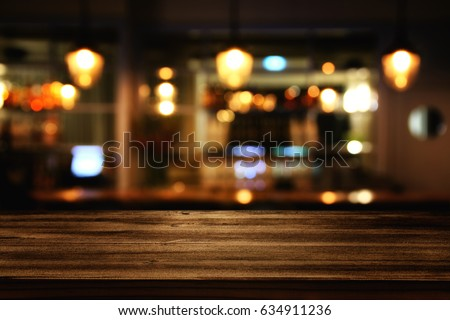 image of wooden table in front...