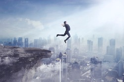 Image of young businesswoman wearing formal suit while jumping off a cliff to a city