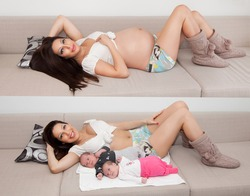 Image of young woman during pregnancy and after delivery