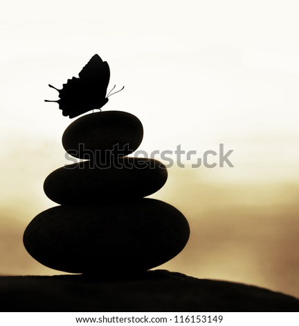 Image of zen balance still life, abstract peaceful background, silhouette of stacked round stone and beautiful butterfly on the top, feng shui, harmony meditation, day spa concept