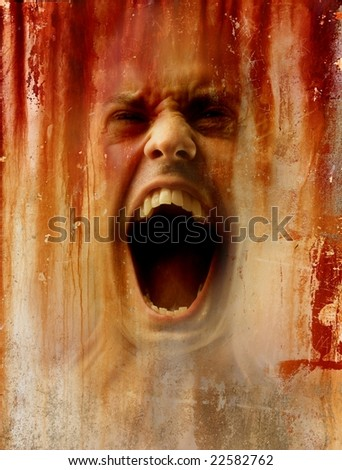 image on the abstract crack background of  a scream man