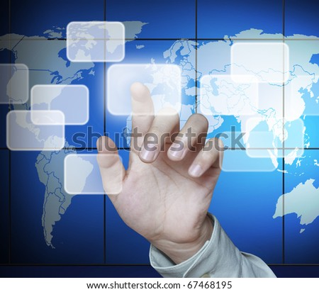 image pointing forefinger of business